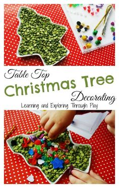 Learning and Exploring Through Play: Table Top Christmas Tree Decorating.