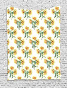 Amazon.com: Ambesonne Sunflower Decor Collection, Two Sunflower Plants on Field Land Meadow Big Leaf Plantation Harvesting Season Design, Bedroom Living Room Dorm Wall Hanging Tapestry, Yellow Olive: Home & Kitchen