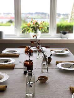 Dining table, scandinavian design. Linen fabrics.