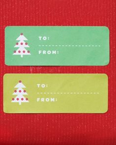 FREE PRINTABLE Christmas Tree Clip-Art Gift Tags... for adhesive labels... by Martha Stewart