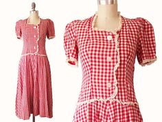 REDUCED  Vintage 30s Gingham Day Dress  Lace by BobcatVintage