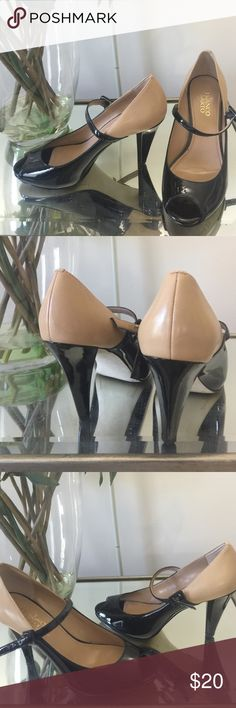 "Women's shoes Franco Sarto 8m Black and Tan buckle heeled Sheila. 1/4""platform   Great condition. Franco Sarto Shoes Heels"