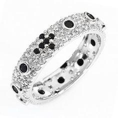 Ten-Beads AMEN rhodium-plated silver 925, black zircons