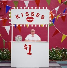 High-Res Stock Photography: Mature man selling kisses in kissing booth School Fair, Kissing Booth, Mature Men, Family Photography, Stock Photos, American, Kisses, Image, Children