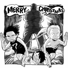 Merry Christmas, funny, text, Ace, Sabo, Luffy, brothers, Garp, running, sleeping, young, childhood; One Piece