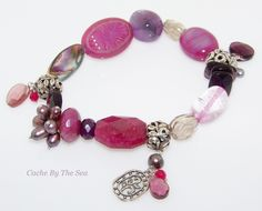 Cache By The Sea Boutique - Another great find! B2320 Silpada Fruit Basket Quartz Crystal Shell Silver Stretch Bracelet