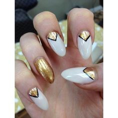 gold triangles black/white Almond Nails found on Polyvore featuring beauty products, nail care, nail treatments and nails