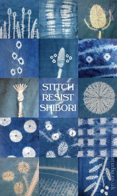 The many beautiful patterns created with different methods of shibori stitch resist with indigo dye all by Townhill Studio. Stripes, spots, squares, circles, leaves and landscapes so much is possible!