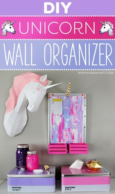 DIY Unicorn Wall Organizer Room Decor ~ @karenkavett