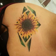 sunflower with geometric style i like this