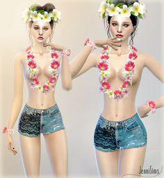Jennisims: Downloads sims 4: Aloha Accessories (Crown,Necklace,Bracelet Dual,Top Nude)