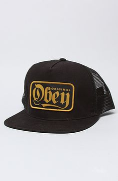 0200428552b Obey The Stout Snapback in Black Flat brim snapback trucker hat with tonal  stitching and top button  By Obey