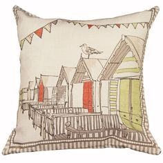 Falmouth Seaside Filled Cushion, Cream & Red