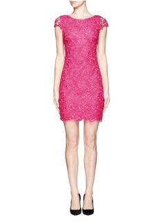ALICE + OLIVIA - Clover fitted mid-length lace dress   Pink Cocktail Dresses   Womenswear   Lane Crawford - Shop Designer Brands Online