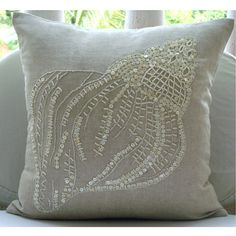 Decorative Throw Pillow Cover Accent Pillow Couch Sofa Toss Pillow 20x20 Natural Beige Linen Pillow Case Pearl Embroidered Bedding Sea Shell