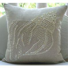 Designer Écru Housses De Coussins 40x40 cm Cotton Linen Taie