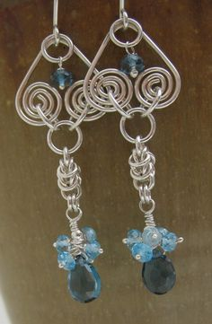 Blue Topaz Chainmaille Wire Earrings in Sterling Silver, via Etsy.