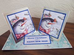 Snowman twisted double easel Christmas card from Hunkydory.