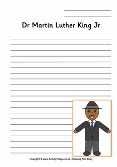 martin luther king worksheet for younger children second graders  martin luther research paper martin luther king writing page