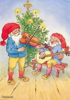 Irma Salmi Gnomes, Yule, Finland, Christmas Cards, Santa, Illustration, Painting, Costumes, Elves