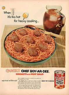 """1953 Chef-Boy-Ar-Dee Spaghetti and Meatballs Original Food and Drink Print Ad -An original vintage 1953 advertisement, not a reproduction -Measures approximately 10"""" x 13"""" to 11"""" x 14"""" -Ready for matt"""