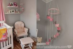 Pink, Gray and White Modern Baby Girl Nursery: #DIY Butterfly Mobile | spotofteadesigns.com