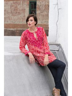 """Silk Crepe 31"""" long 3/4 sleeves hand embrroidered"""