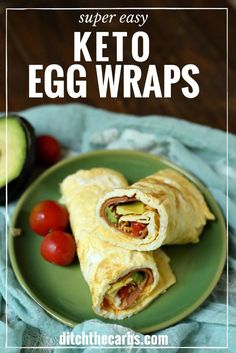 Keto egg wraps are the perfect low carb snack, lunch or breakfast. The beauty is that you can fill them with almost anything you love. See the new cooking video just added too. Easy easy. | ditchthecarbs.com via @ditchthecarbs
