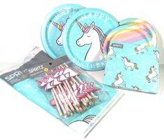 Magical Rainbow Unicorn Themed Birthday Party Pack for 20. Cute and magical unicorn themed decorations. Bright colors make the perfect party backdrop!. Includes 20 dinner plates, 20 dessert plates, 20 napkins, 20 unicorn straws, and a matching tablecloth. High quality disposable plates hold food, but make for easy cleanup!.