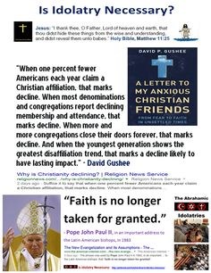 """""""When one percent fewer Americans each year claim a Christian affiliation, that marks decline. When most denominations and congregations report declining membership and attendance, that marks decline. When more and more congregations close their doors forever, that marks decline. And when the youngest generation shows the greatest disaffiliation trend, that marks a decline likely to have lasting impact."""" - David Gushee"""