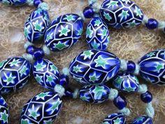 Art Deco Venetian Moretti Matched Star Cane Millefiori Bead Necklace
