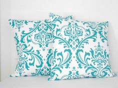 Blue Damask Pillow Covers 18 X 18 inches by SarahLyallHome on Etsy