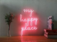 My Happy Place Real Glass Neon Sign For Bedroom Garage Bar Man Cave Room Home Decor Handmade Artwork Wall Lighting Includes Dimmer Neon Sign Bedroom, Bedroom Wall, Bedroom Decor, Neon Lights Bedroom, Bed Room, Wall Decor, Decorating Bedrooms, Interior Decorating, Neon Room Decor