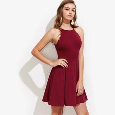 Women's Scalloped Edge Box Pleated Burgundy Sleeveless Dress  #top #topandbottoms #igers #entrepeneur #unitedstates #fashion #insta #matchingset #daily #stores