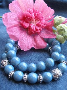 Blue jeans glass bracelet