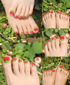 [Visit to Buy] Fashion Adorable 24pcs Strawberry False Toe Nails with 1pc Glue Sticker Full Red Green Oval Toenails Designer Nail Tips #Advertisement