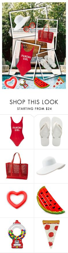 """""""pool"""" by lanabaloley ❤ liked on Polyvore featuring interior, interiors, interior design, home, home decor, interior decorating, ADRIANA DEGREAS, Havaianas, Frye and Eric Javits"""