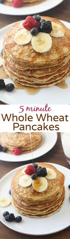 The BEST light and fluffy whole wheat pancakes that only take 5 minute to make! … The BEST light and fluffy whole wheat pancakes that only take 5 minute to make! You will never make regular pancakes again! Whole Wheat Pancakes, Brunch, Good Food, Yummy Food, Cooking Recipes, Healthy Recipes, Yummy Recipes, Recipies, Breakfast Recipes