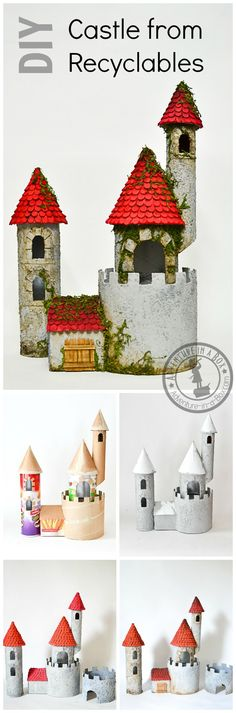 Cardboard castle made from recyclable materials - kids can build a DIY toy castle out of paper towel rolls, cans, and more! Fun craft for kids who love princesses, knights, or history.