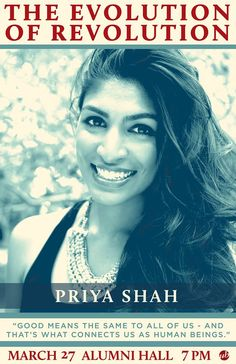 """Join  Priya Shah as she discusses #theSimpleGood #Activism and #Art!  Hear from other panelists on the """"Evolution of Revolution"""" tonight in #Bloomington #Indiana. """"*The Evolution of Revolution: Activism in 2017*"""" is a public event hosted by the *Indiana Memorial Union Board*. Learn more about this event on their Facebook Event page: https://www.facebook.com/events/614169962107264/"""