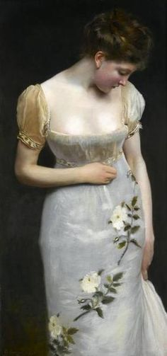 Mademoiselle, Gustave Jean Jacquet. French. Daring necklines in France during the Napoleonic years.