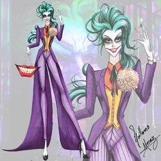 "Batman Villains Fashion Collection by Guillermo Meraz, ""Joker"". Just 1 more look to be finished! Fashion Design Drawings, Fashion Sketches, Disney Style, Disney Art, Der Joker, Villain Costumes, Hayden Williams, Creation Art, Arte Fashion"