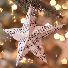 Sheet Music Ornaments @Better Homes & Gardens: Add a musical note to your Christmas tree with these quick-to-craft paper ornaments. All you need is some sheet music, some thread, and our helpful pattern. Download our free folding pattern and turn ordinary paper into an extraordinary Christmas ornament. We chose ordinary sheet music for our motif, both for the theme and the visual interest...