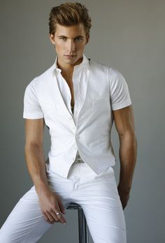 men's all white outfit.  White vest, white button down shirt and white pants.