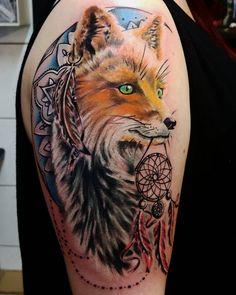 Colorful Fox Tattoos Designs