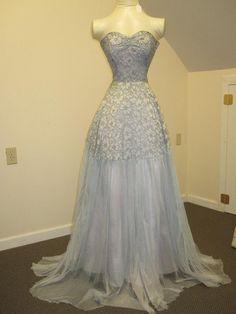 40's pale blue floral lace wedding gown $5.00 (!!!)