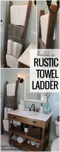 Store towels in your bathroom while looking chic and farmhouse! How To Build A Rustic Towel Ladder, Tutorial from Twelve Oaks Blog on Remodelaholic.com
