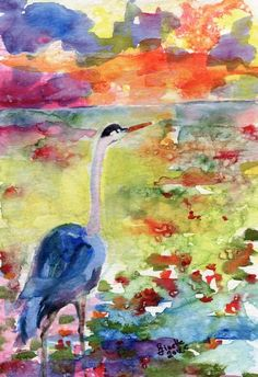 Blue Heron Sunset Watercolor by Ginette | Ginette Callaway