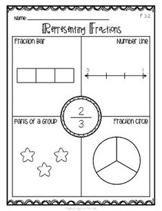 Representing Fractions - Up to - Blank Version Included! 3rd Grade Fractions, Teaching Fractions, Second Grade Math, Math Fractions, First Grade Math, Teaching Math, Grade 3, Teaching Ideas, Mental Maths Worksheets