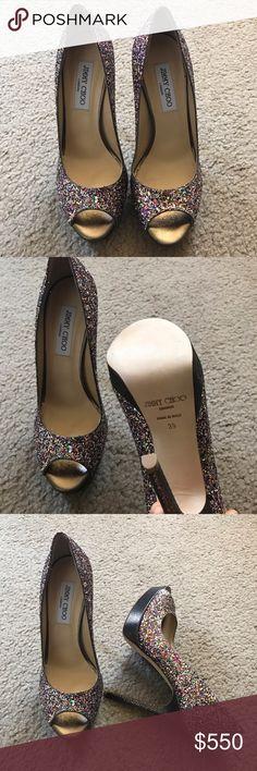 f74db8c6f597 Jimmy choo glitter platform pumps peep toe So sparkly and pretty.